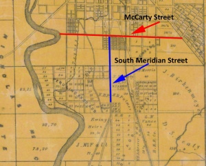 This 1855 map provides one of the earliest images of the near-Southside. Both McCarty Street and contemporary South Meridian Street were dirt roads, and some lots were included in the map at the southwest corner of the two streets (click for expanded view).