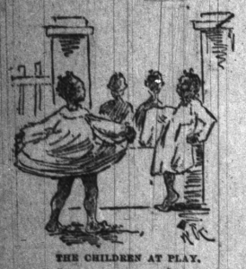 In July, 1892 the Indianapolis News provided this imaginative picture of children at the Colored Orphan's Home.